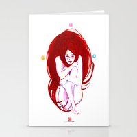 musa Stationery Cards featuring MUSA RED by Xavi Guerra