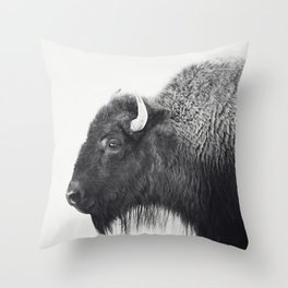 Buffalo Photograph in Black and White Throw Pillow