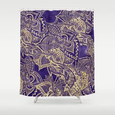 Peacock Shower Curtains Society - Purple and gold shower curtain
