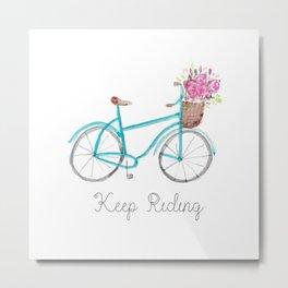 Keep Riding Bike, Watercolor Bike Metal Print