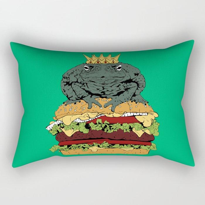King of Burgers Green Rectangular Pillow