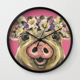 Flower Crown Pig, Farm Animal Art, Cute Pig Wall Clock