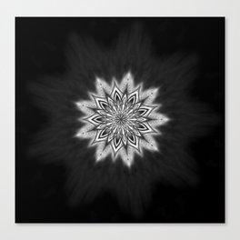 Black Ice Mandala Swirl Canvas Print