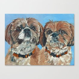 Shih Tzu Buddies Dog Portrait Canvas Print