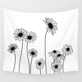 Minimal line drawing of daisy flowers Wall Tapestry