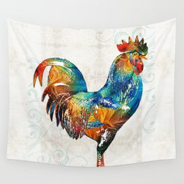 Colorful Rooster Art by Sharon Cummings Wall Tapestry