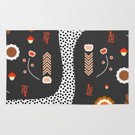 Acorns, flowers and a dotted river Rug