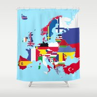 europe Shower Curtains featuring Europe flags by SebinLondon