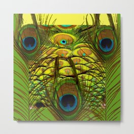 GREEN-YELLOW PEACOCK ART Metal Print