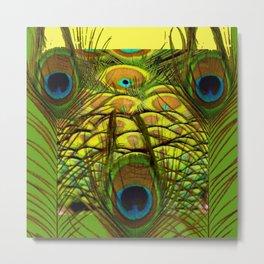 GREEN-YELLOW PEACOCK ART Metal Print