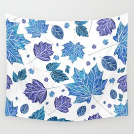 Autumn leaves pattern in blue Wall Tapestry