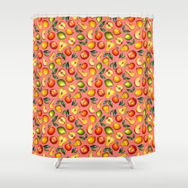 Watercolor fruit pattern on pink background Shower Curtain