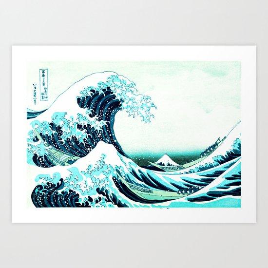the great wave : aqua teal Art Print