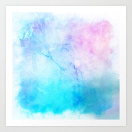 Turquoise Pink Watercolor Texture Art Print