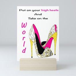 Girl Power Quote High Heels Mini Art Print