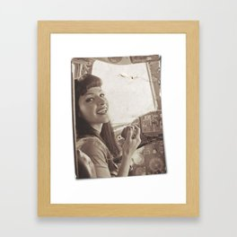 """Roger That"" - The Playful Pinup - Sepia Weathered Air Force Pinup Girl by Maxwell H. Johnson Framed Art Print"