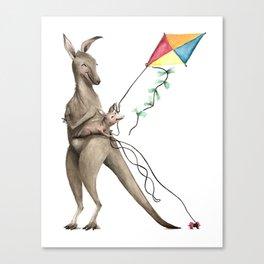 K is for Kangaroos flying Kites - Laugh-A-Bit Alphabet Watercolor ABC Nursery Decor Canvas Print