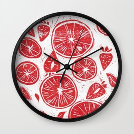 Blood Oranges & Strawberries Wall Clock