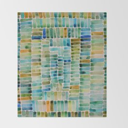 Watercolor abstract rectangles - orange and blue Throw Blanket