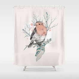 Robin on Birch Shower Curtain