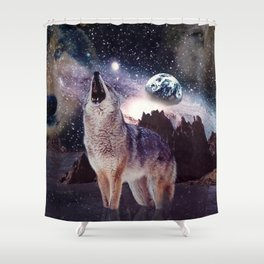 Wolf in the moon howling at the earth Shower Curtain