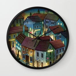 cozy night in the streets Wall Clock