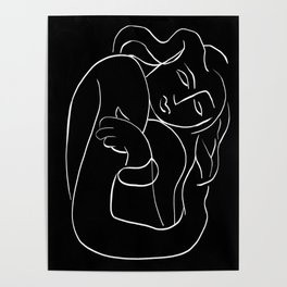 Matisse Line art Woman Black Poster