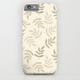 Vintage white gray black pastel color leaves pattern iPhone Case