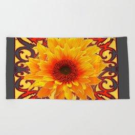 Charcoal Grey Red Sunflowers Pattern Art Beach Towel
