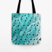 music notes Tote Bags featuring Music notes by Gaspar Avila