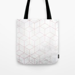 Rose Gold Geometric White Mable Cubes Tote Bag