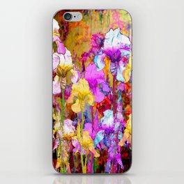 MIXED IRIS FLORAL AVOCADO ART DESIGN iPhone Skin
