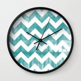 Blue Watercolor Chevron Wall Clock