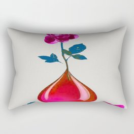 DECORATIVE FUCHSIA PEONY IN TEARDROP VASE Rectangular Pillow