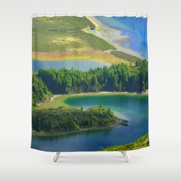 Colorful lake Shower Curtain