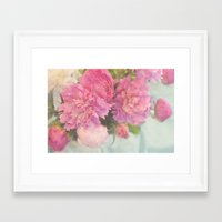peonies Framed Art Prints featuring Peonies by Lisa Argyropoulos