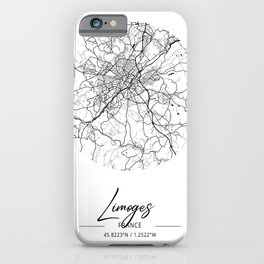 Limoges Area City Map, Limoges Circle City Maps Print, Limoges Black Water City Maps iPhone Case