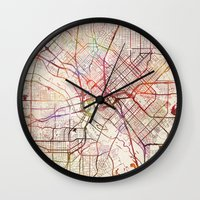 dallas Wall Clocks featuring Dallas by MapMapMaps.Watercolors