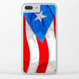 Puerto Rico Fancy Flag Clear iPhone Case