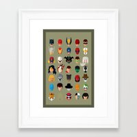 superheroes Framed Art Prints featuring SuperHeroes by Luca Giobbe