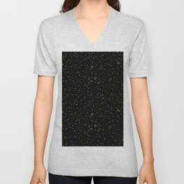 Faux gold glitter and sparkles on black texture Unisex V-Neck