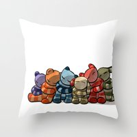 cuddle Throw Pillows featuring Cuddle by Friederike Ablang
