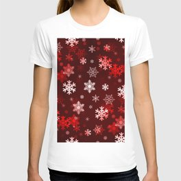 Dark Red Snowflakes T-shirt