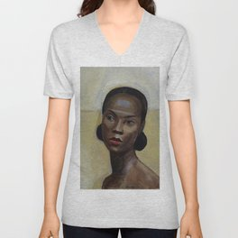 African American Masterpiece 'Portrait of a Black Woman' by Sergey Sudeikin  Unisex V-Neck