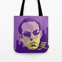 melissa smith Tote Bags featuring AGENT SMITH by Mike Wrobel