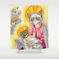 christ Shower Curtains featuring Internet Christ  by Quigley Down Under