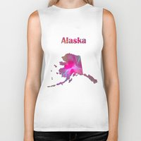 alaska Biker Tanks featuring Alaska Map by Roger Wedegis
