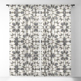 Black and white marble Moroccan mosaic Sheer Curtain