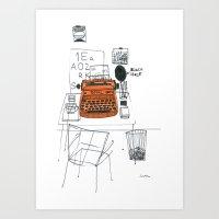 typewriter Art Prints featuring Typewriter by k.a.r.o.l.inka