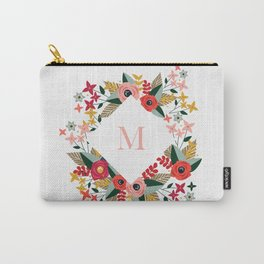 Floral White Monogram M Carry-All Pouch